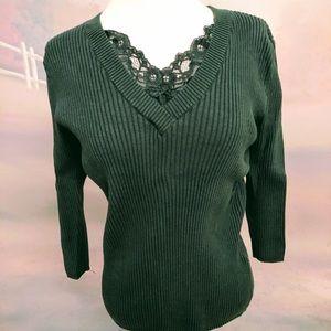 Ladies Dark Green 3/4 Sleeve Spring Top